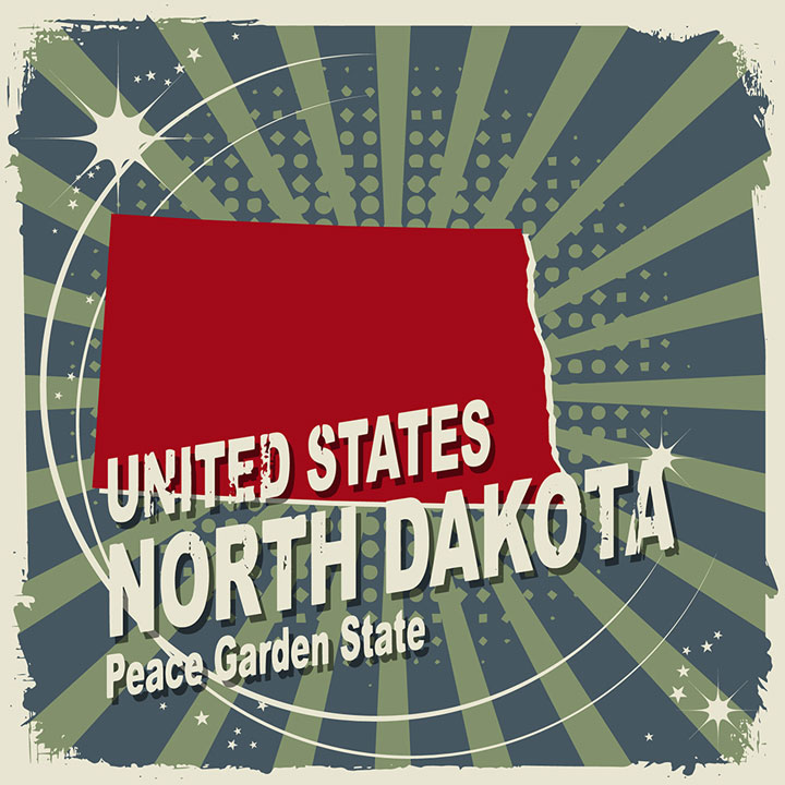 abstract north dakota map