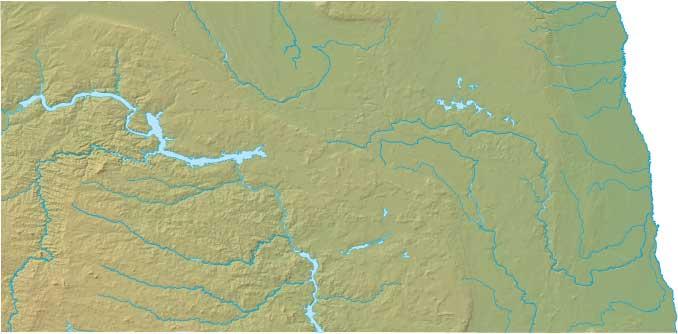 North Dakota relief map